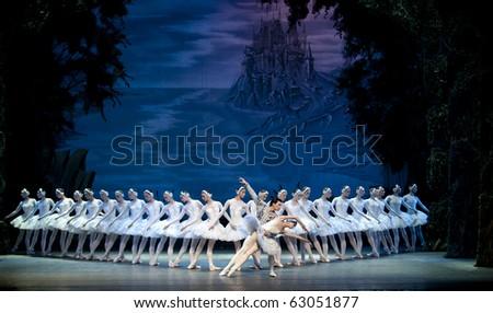 CHENGDU, CHINA - OCTOBER 2: Russian National ballet perform Swan Lake ballet at Jincheng  theater October 2, 2010 in Chengdu, China - stock photo