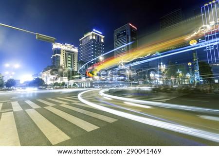 Chengdu city, night - stock photo