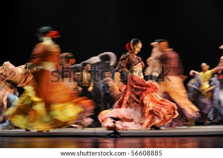 "CHENGDU - DEC 28: Flamenco Dance Drama ""Carmen"" performed by The Ballet Troupe of Spanish Rafael Aguilar(Ballet Teatro Espanol de Rafael Aguilar) at JINCHENG theater DEC 28, 2008 in Chengdu, China. - stock photo"