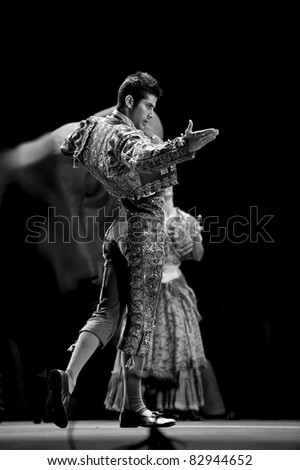 CHENGDU - DEC 28: Spanish dancer performs the Flamenco Dance onstage at JINCHEN theater on Dec 28, 2008 in Chengdu, China. - stock photo
