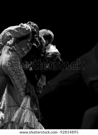 CHENGDU - DEC 28: Spanish dancers perform the Flamenco Dance onstage at JINCHEN theater on Dec 28, 2008 in Chengdu, China. - stock photo