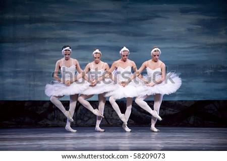 CHENGDU - DEC 24: Swan Lake ballet performed by Russian royal ballet at Jinsha theater December 24, 2008 in Chengdu, China. - stock photo