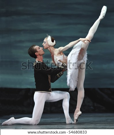 CHENGDU - DECEMBER 24: Russian royal ballet perform Swan Lake ballet at Jinsha theatre December 24, 2008 in Chengdu, China. - stock photo
