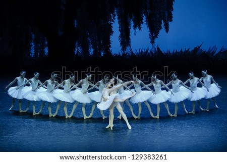 CHENGDU - JAN 5: The national ballet of china perform on stage at Jincheng theater.Jan 5, 2012 in Chengdu, China. - stock photo