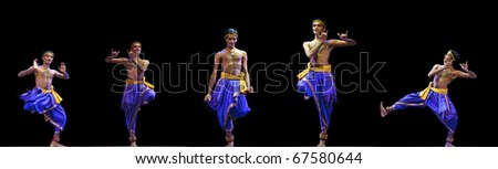 """CHENGDU - OCT 24: Indian folk dance """"Kalinga Nartanam"""" performed by Kalakshetra dance institute of India at JINCHENG theater during the festival of India in china OCT 24, 2010 in Chengdu, China. - stock photo"""