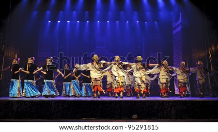 CHENGDU - SEP 27: chinese Tibetan ethnic dancers perform onstage at Sichuan experimental theater.Sep 27,2010 in Chengdu, China.