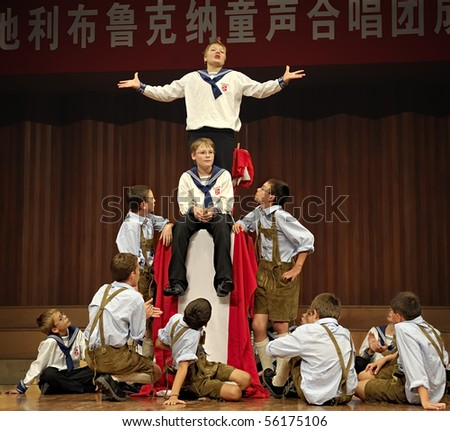 CHENGDU - SEP 21: Concert of Austrian St,Florian Boy's Choir at JIAOZI concert hall SEP 21, 2008 in Chengdu, China. - stock photo