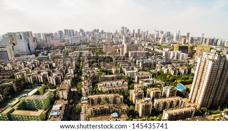Chengdu, Sichuan, China cityscape at daylight - stock photo