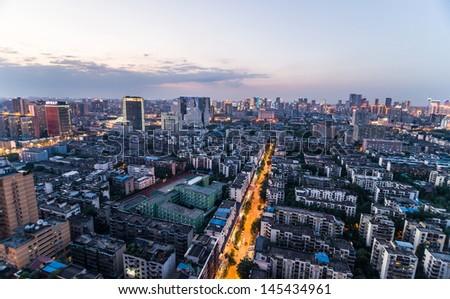 Chengdu, Sichuan, China cityscape at night - stock photo