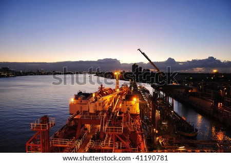 chenical tanker is loading in the port - stock photo