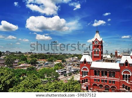 Chennai Central Railway station, India - stock photo