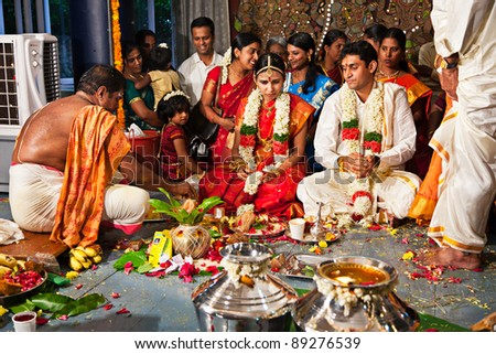 CHENNAI, INDIA - AUGUST 29: Indian (Tamil) Traditional Wedding Ceremony on August 29, 2010 in Chennai, Tamil Nadu, India - stock photo