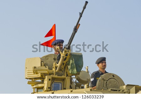 CHENNAI, INDIA - JANUARY 26:Soldiers of the Indian Army march down  in Chennai, Republic Day on JAN 26, 2013 - stock photo
