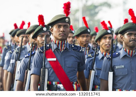 CHENNAI, INDIA - JANUARY 26:Soldiers of the Indian Army march down in Chennai, Republic Day on JAN 26, 2013