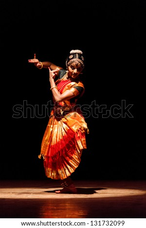 CHENNAI, INDIA - SEPTEMBER 28: Bharata Natyam dance performed by female exponent on September 28, 2009 in Chennai, India. Bharatanatyam is a classical Indian dance form originating in Tamil Nadu state