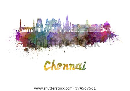 Chennai skyline in watercolor splatters with clipping path - stock photo