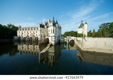 """Chenonceau Castle, Loire Valley, France. Known as """"the castle of the ladies"""" was built in 1513 by Katherine Briconnet - stock photo"""