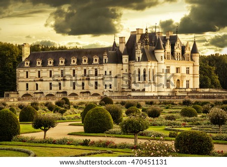 CHENONCEAU, FRANCE - JULY 22, 2016: : The Chateau de Chenonceau, France. This castle is located near the small village of Chenonceaux in the Loire Valley, was built in the 15-16 centuries.