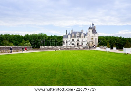 CHENONCEAU, FRANCE - MAY 28. The Chateau de Chenonceau, France on May 28, 2014. This castle is located near the small village of Chenonceaux in the Loire Valley. - stock photo
