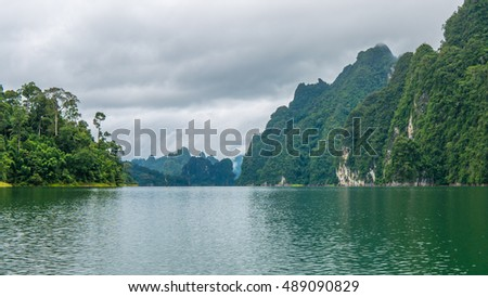 Cheo Lan Lake in Thailand.Rainy Clouds