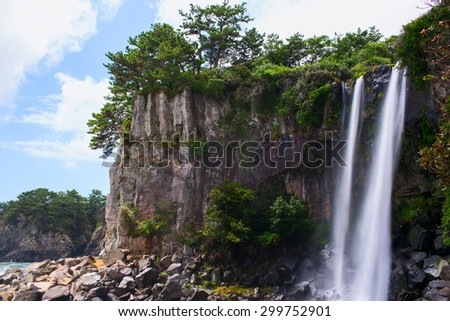 Cheonjeyeon Waterfall. Jeju Island, South Korea - stock photo