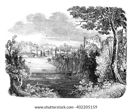 Chepstow Castle Ruins, vintage engraved illustration. Colorful History of England, 1837. - stock photo