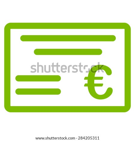 Cheque from BiColor Euro Banking Icon Set. Glyph style: flat, eco green symbol, rounded angles, white background. - stock photo