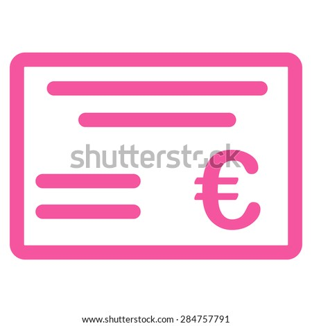 Cheque from BiColor Euro Banking Icon Set. Glyph style: flat, pink symbol, rounded angles, white background. - stock photo