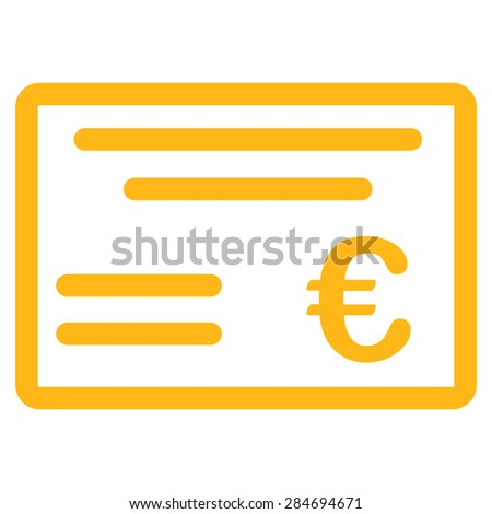 Cheque from BiColor Euro Banking Icon Set. Glyph style: flat, yellow symbol, rounded angles, white background. - stock photo