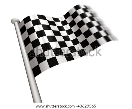 Chequered flag flying - stock photo