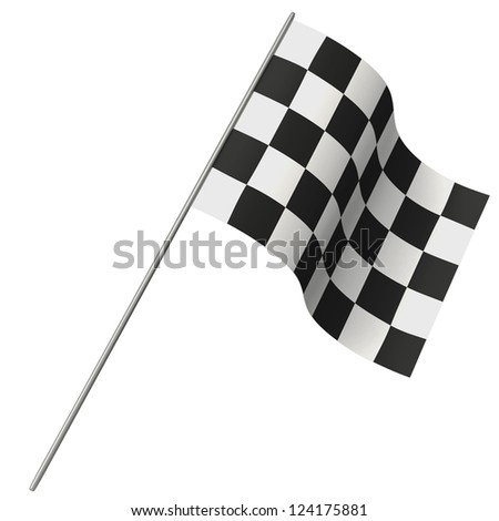 Chequered flag isolated on white background - stock photo