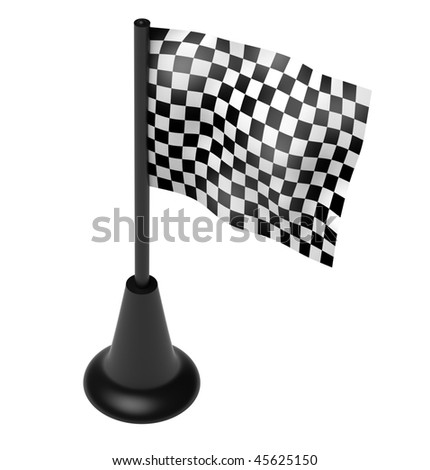 Chequered flag on the mast. 3D render. Isolated on white. - stock photo