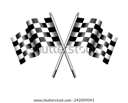 Chequered Flags Motor Racing - Two black and white crossed Racing Checked Flags - Raster Version - stock photo