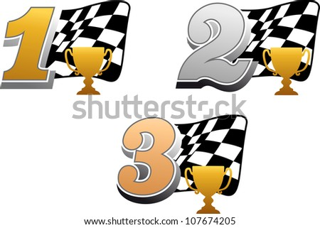 Chequered racing flag with trophy and golden, silver and bronze numbers, such a logo. Vector version also available in gallery