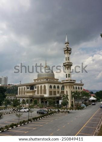 CHERAS, KUALA LUMPUR, MALAYSIA-AUGUST 10, 2014: Al Mukhlisin masjid (mosque) in Cheras, Kuala Lumpur. Islam is the official religion of Malaysia. - stock photo