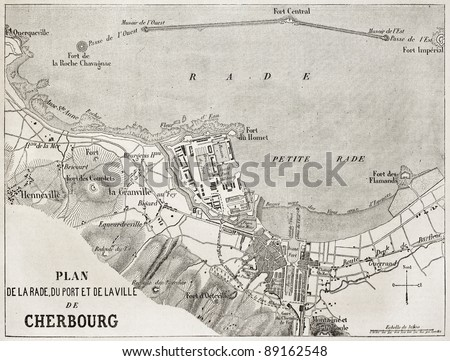 Cherbourg old plan, France. Created by Gillot and Avril, published on L'Illustration, Journal Universel, Paris, 1858 - stock photo