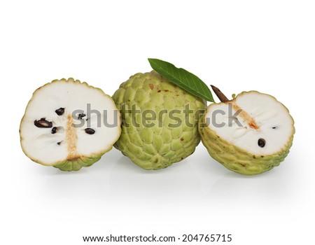 Cherimoya fruit on white background - stock photo