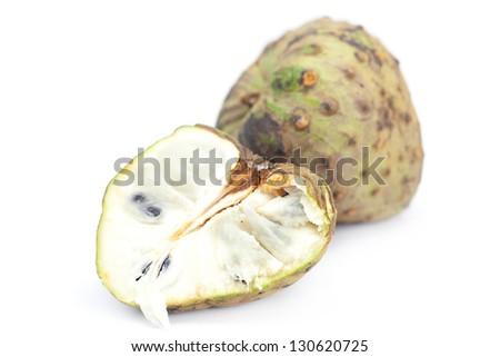 cherimoya isolated on white - stock photo