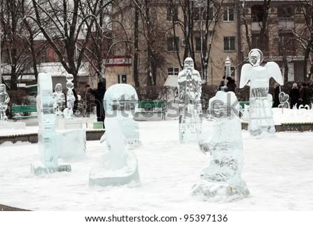 CHERKASSY, UKRAINE - FEBRUARY 14: Exhibition of ice sculptures devoted to Euro 2012 championship, festival February 14, 2012 in Cherkassy, Ukraine - stock photo