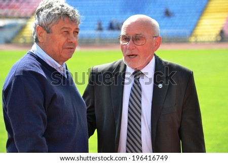 CHERKASSY, UKRAINE - MAY 7: Shakhtar head coach Mircea Lucescu (L) during the semifinal match of the Cup of Ukraine on football between FC Slavutich - FC Shakhtar, 7 May 2014, Cherkassy, Ukraine