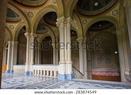 CHERNIVTSI, UKRAINE - APR 24, 2015: Marble interior of Chernivtsi University campus on April 29, 2015. UNESCO World Heritage Site, built in 1882 for Residence of Bukovinian and Dalmatian Metropolitans - stock photo