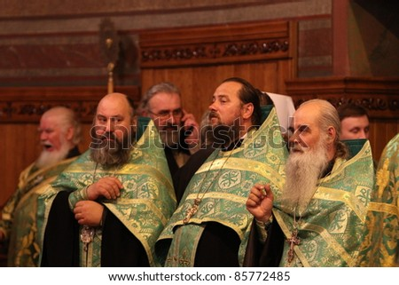 CHERNIVTSI, UKRAINE - OCTOBER 1 : Visit and worship of the Patriarch of Moscow and All Russia Cyril in the Holy Spirit Cathedral of Chernivtsi city, Ukraine, October 1, 2011, Chernivtsi, Ukraine