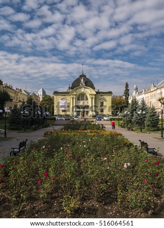CHERNIVTSI/UKRAINE 07TH OCTOBER 2016: Front of Chernivtsi Drama Theatre with the gardens of Teatralna Square in front. Chernivtsi Oblast Ukraine