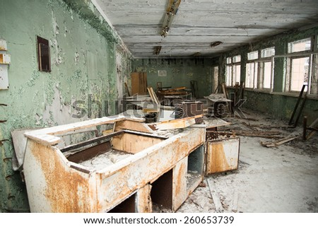 Chernobyl disaster, one of the buildings in Pripyat - stock photo