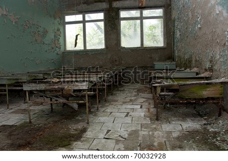 Chernobyl disaster results. This is classroom in abandoned school in small city Pripyat (about 5 kilometers form the Chernobyl nuclear station).