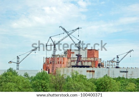 Chernobyl nuclear power station, abandoned construction of reactor 5-6 - stock photo