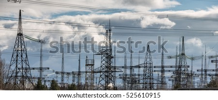 CHERNOBYL, UKRAINE - Nov 28, 2016: Chernobyl nuclear power plant. Transformer substation and high-voltage power lines
