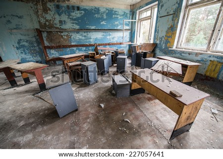 CHERNOBYL ZONE, UKRAINE - SEPTEMBER 29: classroom in Chernobyl-2 military complex (next to Duga-3 radar system) on September 29, 2014 in Chernobyl Nuclear Power Plant Zone of Alienation