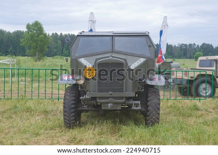 "CHERNOGOLOVKA, MOSCOW REGION, RUSSIA-JUNE 21,2013, Old English canadian military truck production Chevrolet CGT Cab 12 of the international rally ""Motors war"" near the town of Chernogolovka,front view"