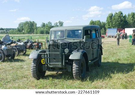 "CHERNOGOLOVKA, MOSCOW REGION, RUSSIA - JUNE 21, 2013: The British commander's car Humber FWD at the 3rd international meeting of ""Motors of war"" near the city Chernogolovka"
